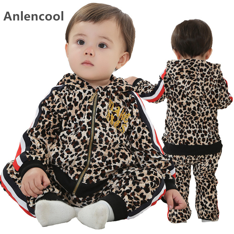 Фото Anlencool Free shipping 2017 baby clothing set new European and American fashion leopard paragraph Tong Edition baby clothing