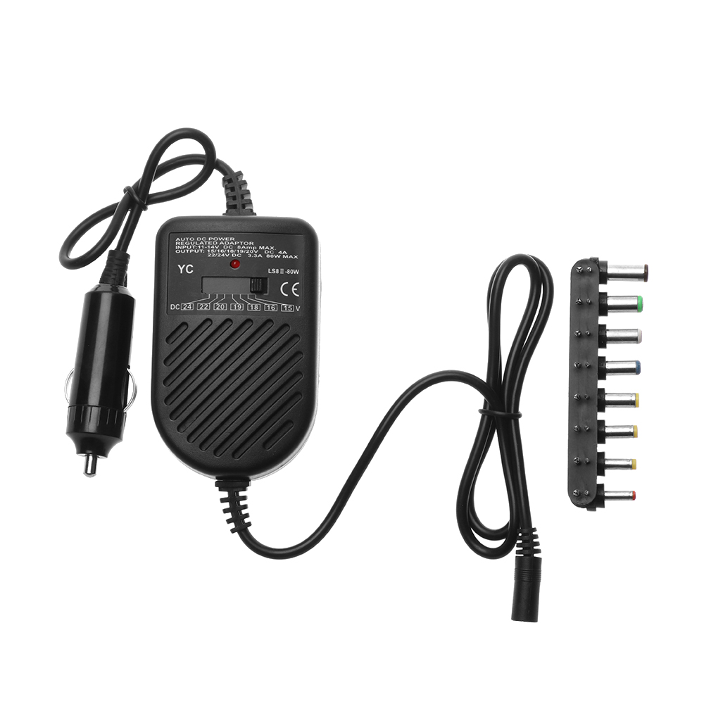 Universal 80W DC Adjustable LED Indicator Car Laptop Charger Notebook Power Supply Adapter For HP ASUS DELL Lenovo Samsung