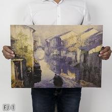 Деревенский пейзаж плакат ретро оберточная бумага в винтажном стиле постер для спальни гостиной бар элемент декоративной живописи FJ-1-9