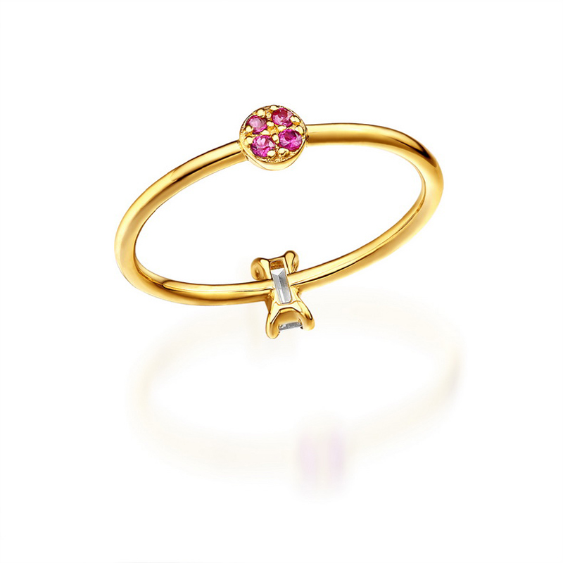JXXGS Hot Sale Red Corundum With White Zircon Ring 14k Gold Charming Ring For Women Daily Wear
