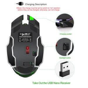 Image 4 - HXSJ 2,4g gaming maus 2400 dpi wiederaufladbare grau 7 farbe hintergrundbeleuchtung kann ausgeschaltet PC maus für drahtlose laptop USB