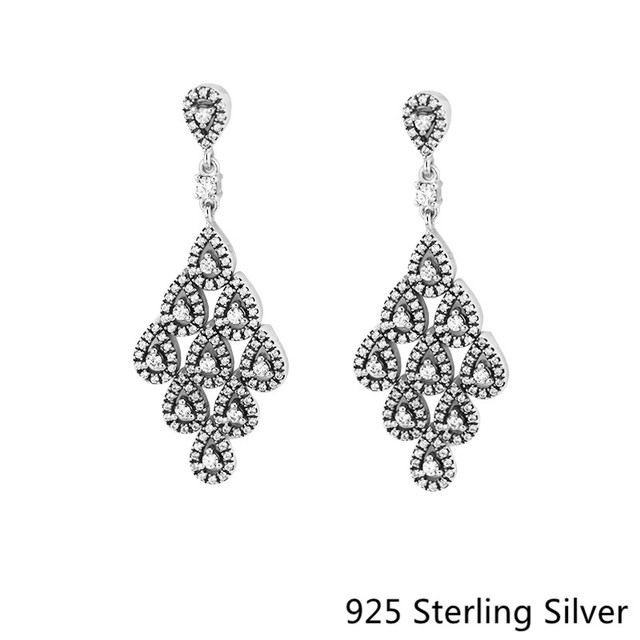 925 Sterling Silver Jewelry Cascading Glamour Small Hanging Earrings Charm With Clear Cz For Diy Women