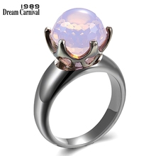 DreamCarnival 1989 Brand New Football Cut Solitaire Wedding Ring for Women Pink Zirconia Gun Color 6 Prongs Crown Look WA11498PN