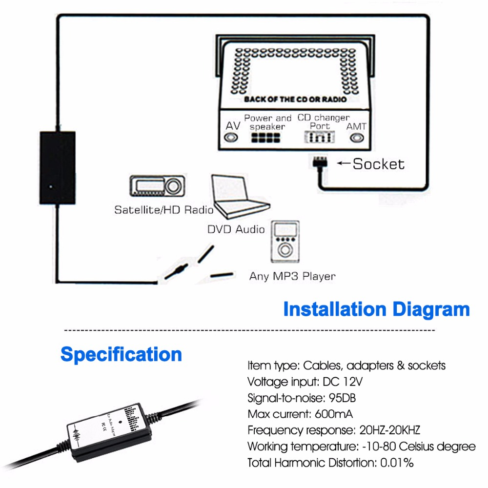 Car Auto Audio Mp3 Player Interface Aux In Adapter Cable For Toyota 2011 Dvd Sequoia Wiring Diagram Lexus 2x6p 35mm Cables Adapters Sockets From Automobiles