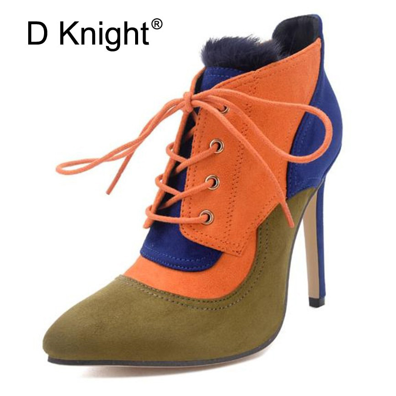 Mixed Colors Women Ankle Boots 2018 New Winter Fur Faux Suede High Thin Heels Boots Ladies Fashion Pointed Toe Black Shoes Woman gladiator shoes denim thigh high boots women boots 2017 winter shoes over the knee fashion pointed toe thin heels mixed colors