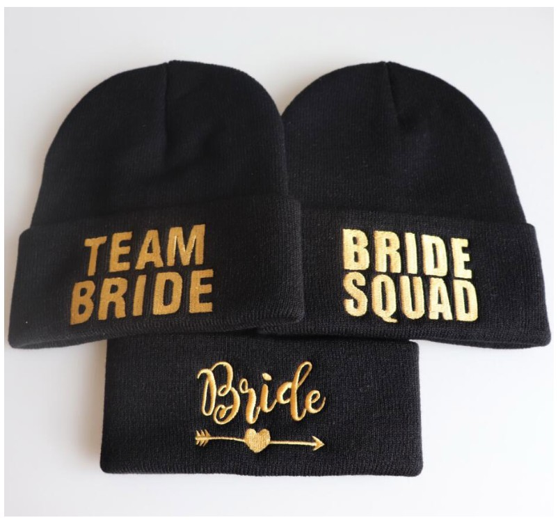 8d86472363b8 Aliexpress.com : Buy free shipping 5pcs wedding favor bridesmaid gift  knitted hat BRIDE TEAM SQUAD TRIBE Bachelor party winter hats a gift for  guests from ...