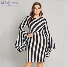 Misshow 6XL Plus Size Flare Sleeve Women Bodycon Dress Oversized Striped Short Long Sheath Robe Femme