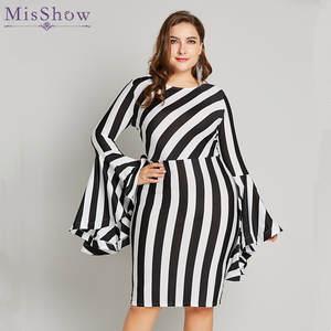 f4f432436f Misshow 6XL Plus Size Flare Sleeve Women Bodycon Dress Oversized Striped  Short Dress Long Sleeve Sheath Dress Women Robe Femme