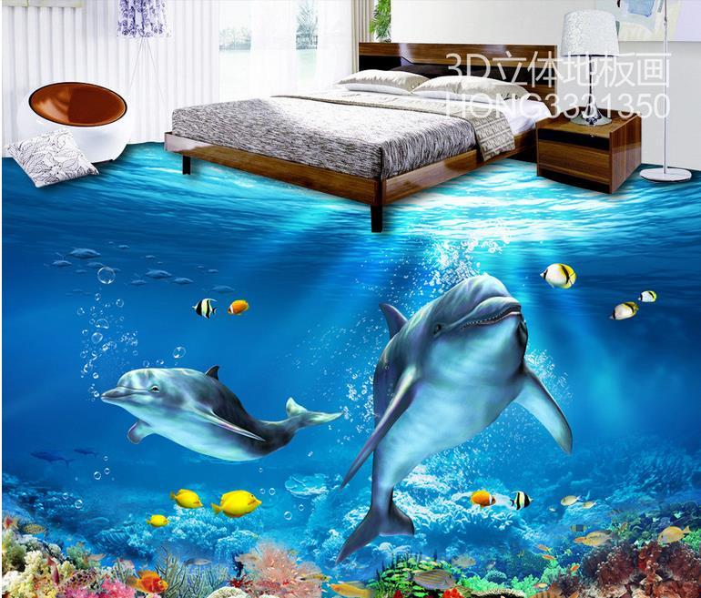 Vinyl flooring waterproof custom 3d wallpaper floor for 3d waterproof wallpaper