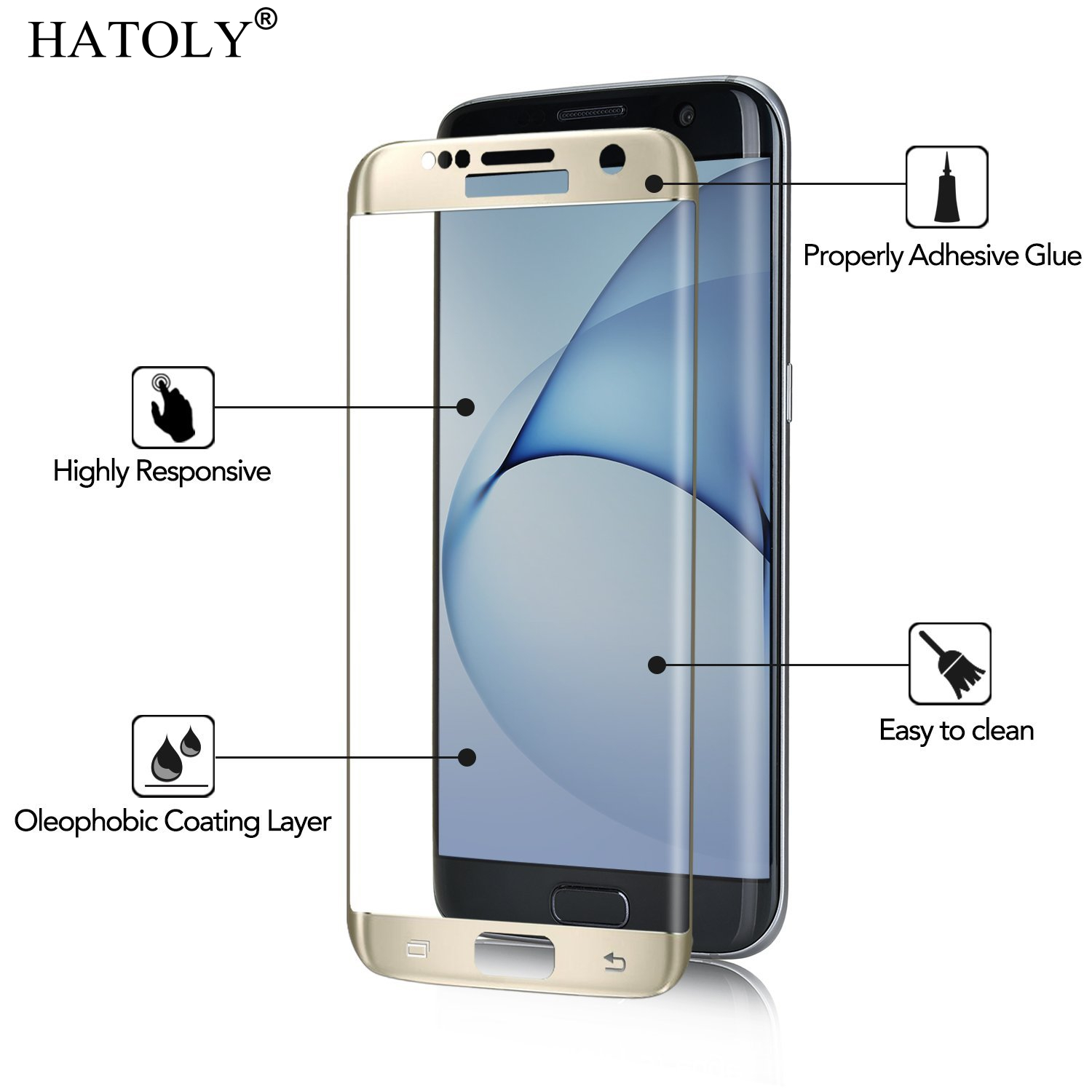 1Pcs Tempered Glass For Samsung Galaxy S7 Edge Anti-Explosion Display Protector For Galaxy S7 Edge 3D Curved Full Cowl Flim <