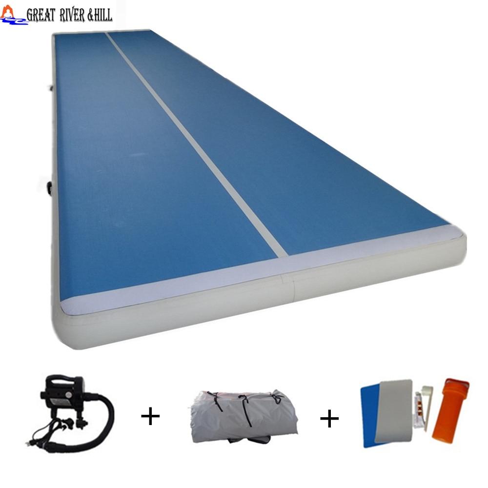 billig oppustelig luftbane gymnastikmåtte til træning af fitnessmåtteprint 30ft med fri pumpe 9m x 2m x 0.2m til salg