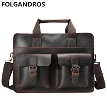 2017 New Men Briefcase Genuine Leather Document Computer Shoulder Bag Vintage Maleta Business Cowhide Laptop Bag