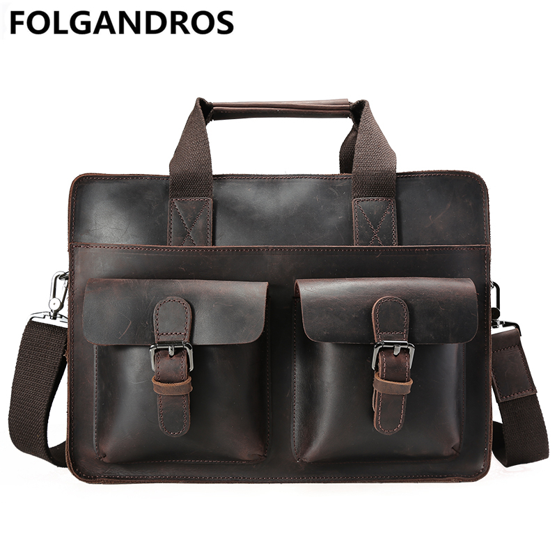 2017 New Men Briefcase Genuine Leather Document Computer Shoulder Bag Vintage Maleta Business Cowhide font b