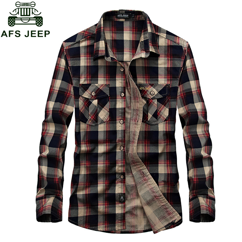 AFS JEEP Brand Flannel Plaid Shirt 2018 Spring Autumn Casual Long Sleeve Shirt Men 100% Cotton Camisa Masculina Plus Size 3XL