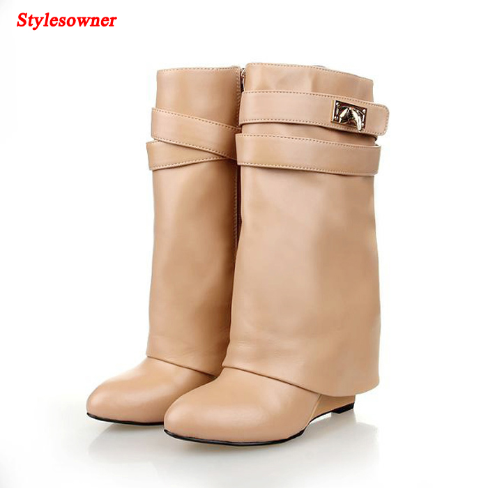 Stylesowner 2018 Shark Lock Folder Mid Calf Women Wedge Boot Round Toe High Heels Shoes Genuine Leather Martin Layer Boots Women 2018 new vintage mid calf women boots square thick high heels pointed toe martin boots genuine leather winter shoes for women