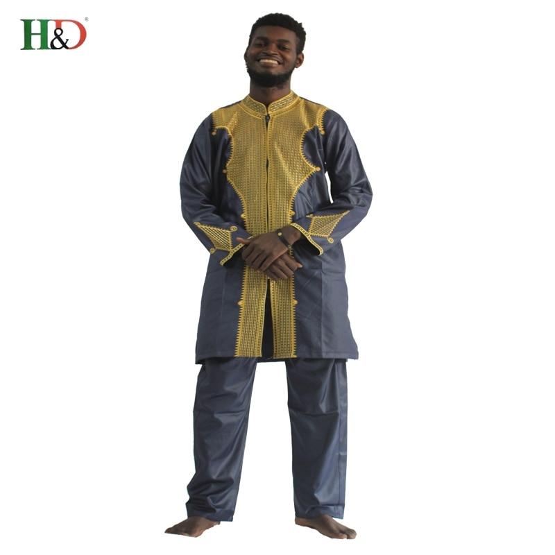 H & D כל שרוול אפריקאי Mens בגדים מסורתיים חומר חלוק באזין Riche africano de bordado hombres camiseta con pantalones