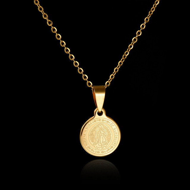 Online shop 2017 new body coin necklace gold chain men pendant 2017 new body coin necklace gold chain men pendant necklace round stainless steel brand jewelry for women aloadofball Images
