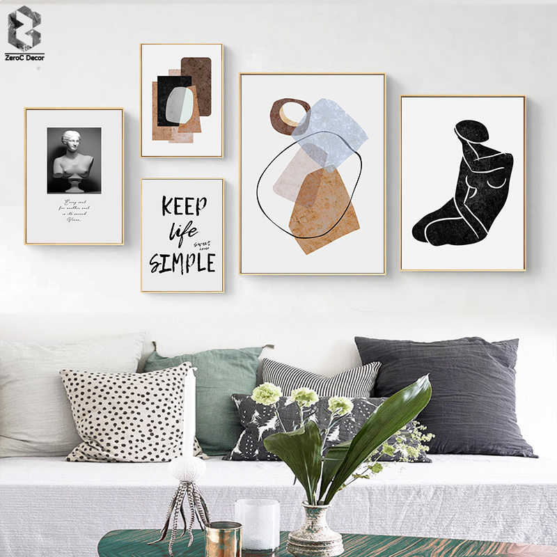 Abstract Vintage Nordic Canvas Paintings Scandinavia Posters Prints POP Wall Art Picture for Bedroom Living Room Home Decoration