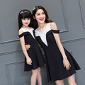 Family Matching Outfits Mother and Daughter Matching Dresses Family Clothing Mom and Daughter Matching Naked Shoulder Dress DR83