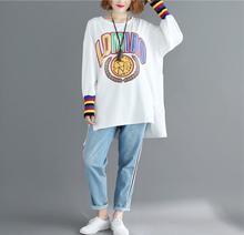 Womens Letter Top And Pullovr Shirts 2019 long Sleeve Cotton Thin Vent Casual Large Size Loose Print Tshirts Female XXL-5XL Tee