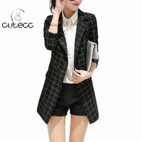 Donne di grandi dimensioni elegante office lady plaid maxi blazers casual peplum slim femme workwear Dentellato collare commercio pulsanti blazer