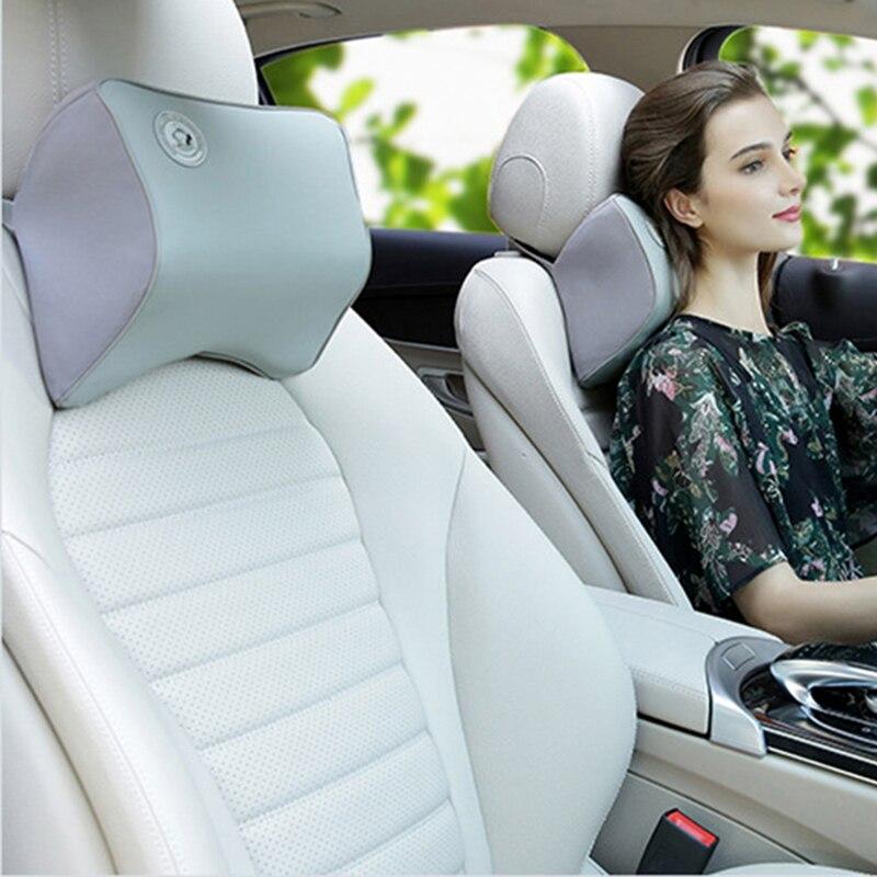 2 PCS Genuine Leather Car Neck Pillow Breathable Auto Head Neck Rest Cushion Relax Neck Support Headrest Comfortable Soft Pillows for Jaguar Jaguar Black
