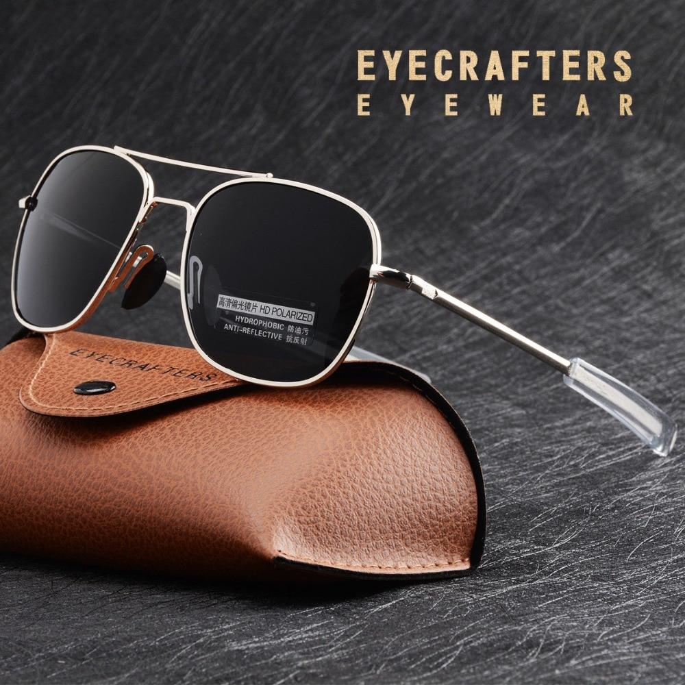 Fashion Black American Army MILITARY Polarized Pilot Sunglasses Mens Brand American Optical Polarized Sun Glasses Oculos De Sol