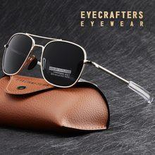 Moda preto exército americano militar polarizado piloto óculos de sol dos homens marca americano óptica polarizado óculos de sol