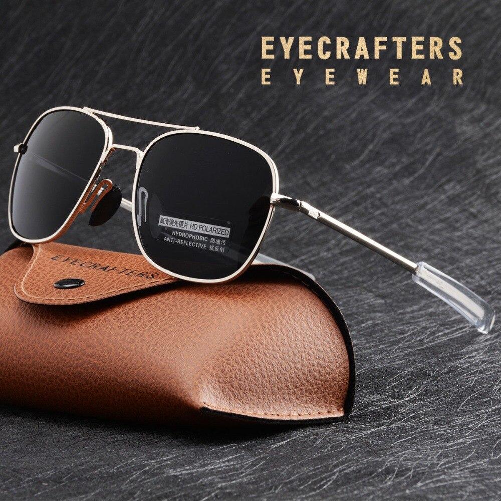 Moda Americano Preto MILITAR Do Exército Piloto Polarizada Óculos De Sol Dos Homens Da Marca American Optical Polarized Óculos de Sol Oculos de sol