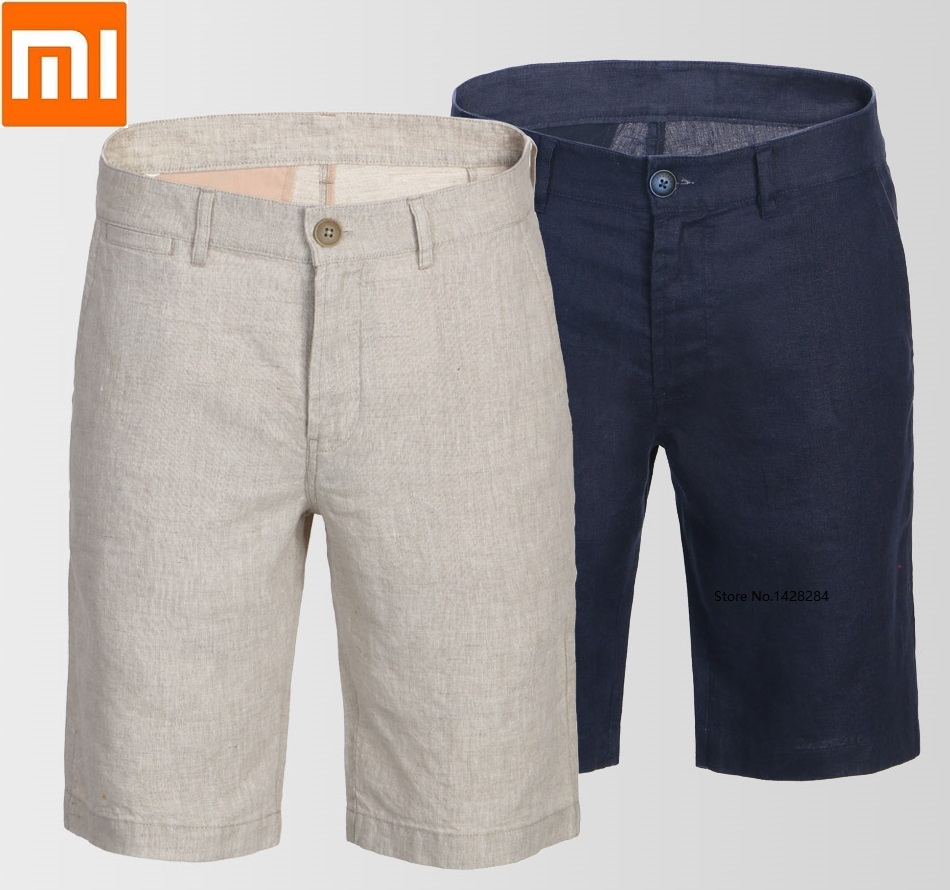 Xiaomi youpin 100 linen breathable casual men shorts Natural linen Soft and comfortable Slim man summer