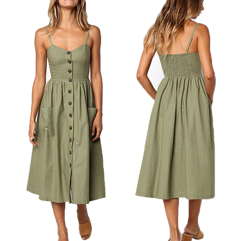 Casual Female Sundress Women Summer <font><b>Dress</b></font> 2019 <font><b>Sexy</b></font> Midi <font><b>Dress</b></font> Ladies <font><b>Vintage</b></font> Vestidos Plus Size Backless Straps <font><b>Dresses</b></font> Button image