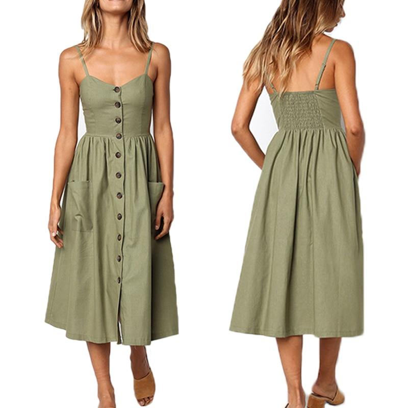 Décontracté femme robe d'été femmes robe d'été 2019 Sexy robe Midi dames Vintage robes grande taille dos nu bretelles robes bouton
