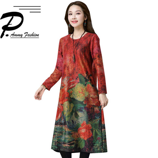 2018 Voguees clothes Chinese Style Women s Autumn Winter Thicken Cotton  Dress Fashion Print loose Long Sleeve 770370cf879d