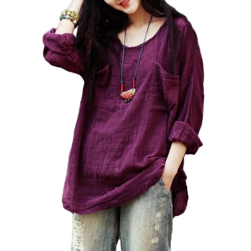 5XL Plus Size Cotton Linen T-shirt Female Korean Women Long