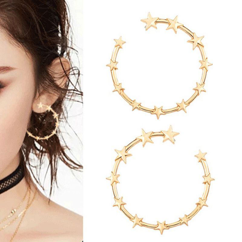 1 Pair Fashion Oversize Circle Earrings for Women Girl New Geometric Crystal Round Earring Party Jewelry Gift