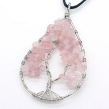 Trendy-beads Popular Silver Plated Natural Rose Pink Quartz Pendant Water Drop Necklace For Christmas Gift