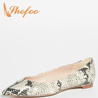 Snakeskin Pattern Women Adult Ladies Casual Summer Shoes Slip On Flat With Pointed Toe Large Size 33 36 40 Fashion Concise 2019
