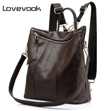 LOVEVOOK women backpack genuine leather school bags female s
