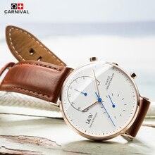 Carnival de primeras marcas de lujo de cuarzo reloj de los hombres de negocios negro ocasional japón cuarzo reloj de cuero genuino ultra delgado reloj masculino nueva