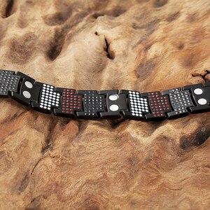 Image 3 - RainSo Male Bracelet Health Germanium Bracelet Charm Black Titanium Magnetic Therapy Bangles Unique Wristband Men Jewelry 2020