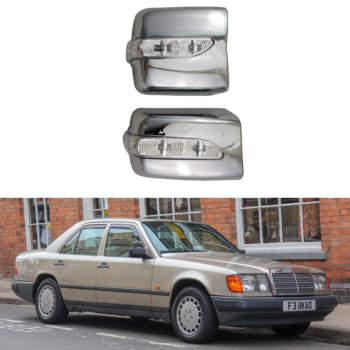 For Mercedes-Benz W124 1984-1996 High-quality 2PCS ABS Chrome plateddoor Rearview door mirror covers with Led Car accessories image