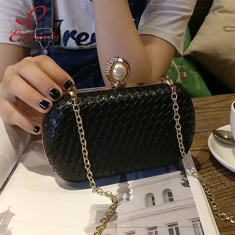 New fashion weave striped pu leather pearl leather bag Women's Evening Bags