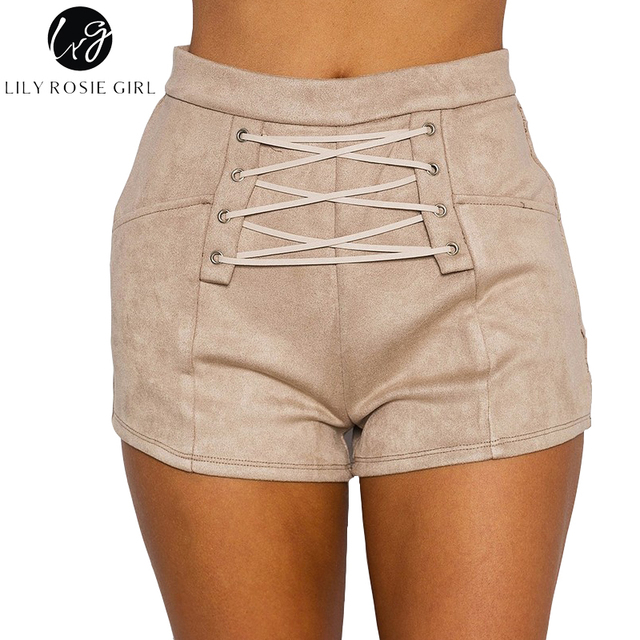 Lily Rosie Girl Lace Up Khaki Shorts Casual High Waist Zipper Black Short Lady Suede Sexy 2017 Autumn Winter Suede Grey Shorts