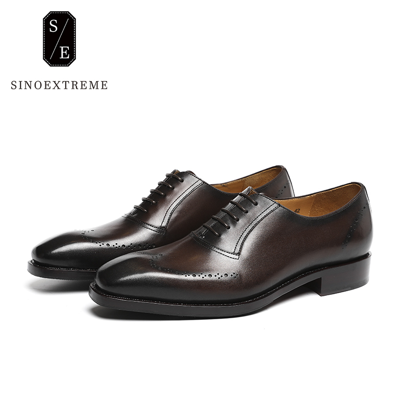 SINOEXTREME Handmade Men Brogues Shoe Casual Luxury Brand Genuine Leather Formal Shoes For Men Wedding Party Shoe Zapatos Hombre new fashion men luxury brand casual shoes men non slip breathable genuine leather casual shoes ankle boots zapatos hombre 3s88