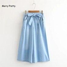 дешево!  Веселые Симпатичные Женщины Ковбойские Широкие Штаны Корейские джинсы Мода Свободные Большие Ноги