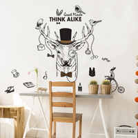 NEW Large 3d Cosmic Deer Animal Wall Sticker Star Home Decoration For Kids Room Floor Living Room Wall Decals Home Decor 2