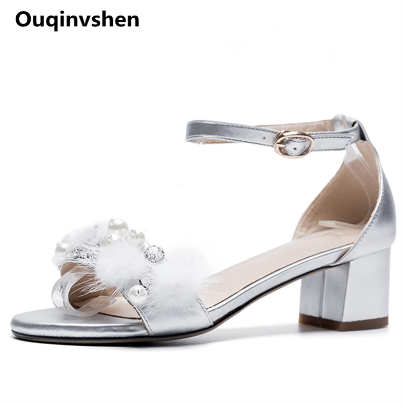 Ouqinvshen Crystal Women Summer Shoes Fashion Siverl Puls Size 33-43 Fur Casual Cover Woman Sandals Buckle Stray Women Heels
