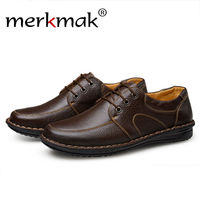 Merkmak Genuine Leather Men Shoes 2016 Fashion Casual Luxury Brand Sapatos Masculinos Flats Up Comfortable Business
