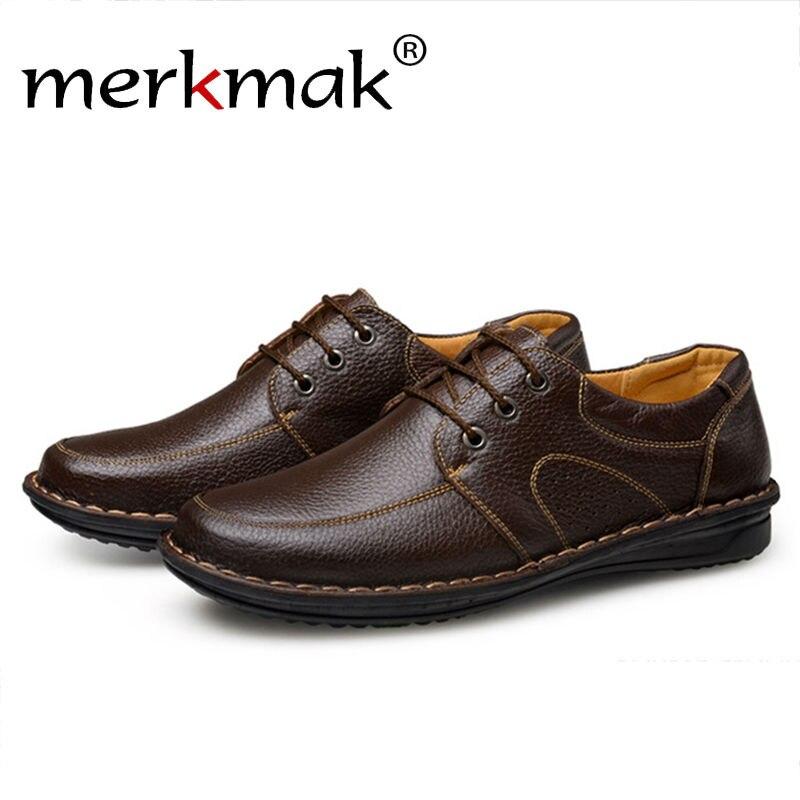 Merkmak Genuine Leather Men Shoes 2018 Fashion Casual Luxury Brand Business Office Brogue Man Flats Comfortable Footwear Shoes cbjsho brand men shoes 2017 new genuine leather moccasins comfortable men loafers luxury men s flats men casual shoes