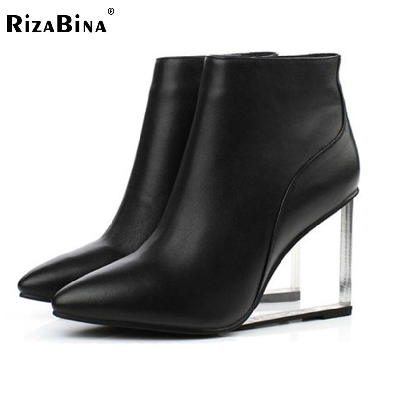ФОТО RizaBina womens shoes transparent wedges high heels ankle boots pointed toe high heels boots winter black shoes woman size33-41
